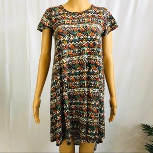 Lularoe Carly tribal design front pocket dress XXS